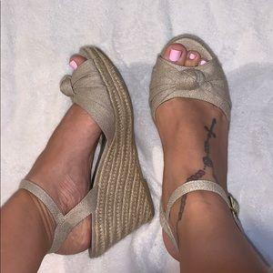 Fabric sandal wedges